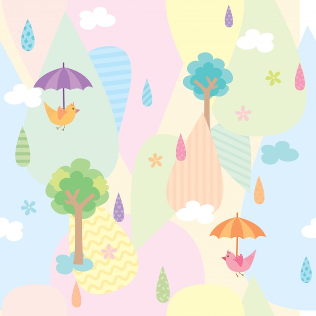 Cute natural seamless pattern Premium Vector