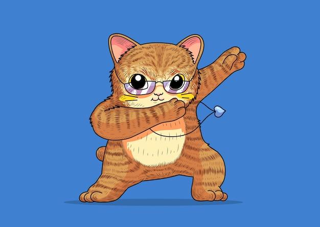 귀여운 얼간이 고양이 웃긴 Dabbing 스타일 프리미엄 벡터