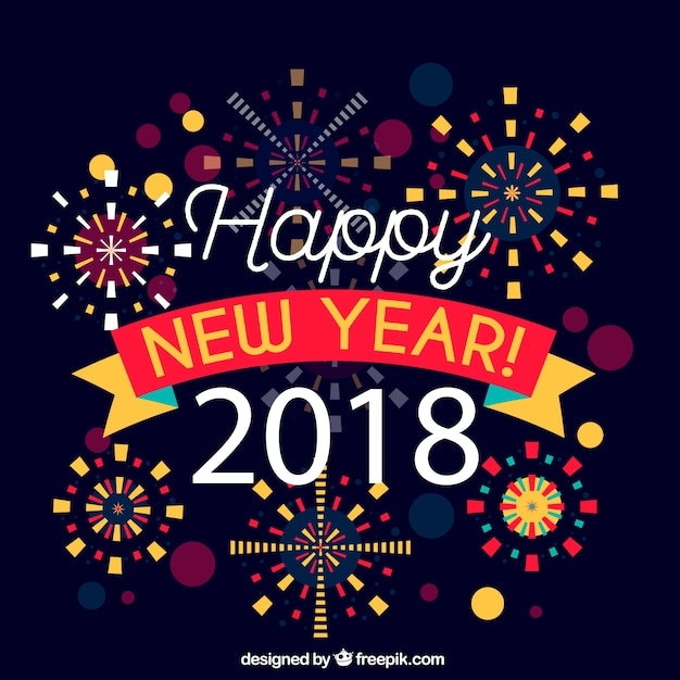 cute new year 2018 background free vector