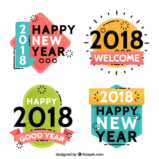 cute new year 2018 badge collection free vector