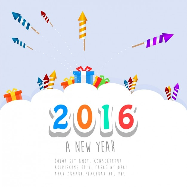 cute new year card of 2016 free vector