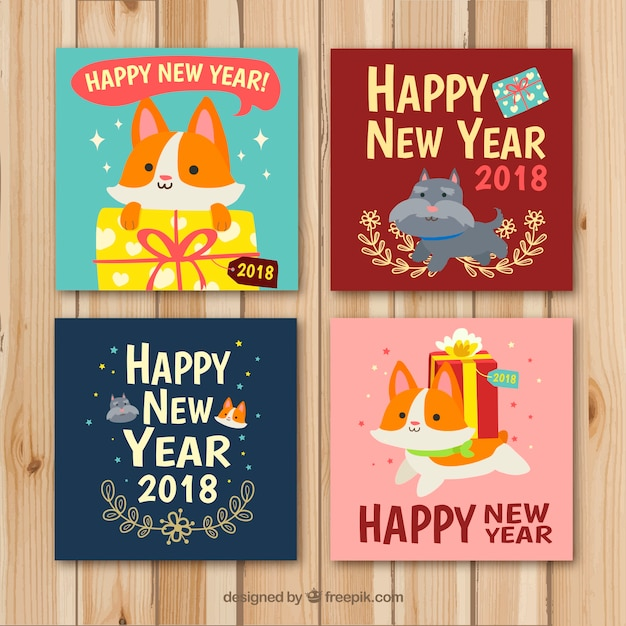 cute new year cards with cats and dogs free vector
