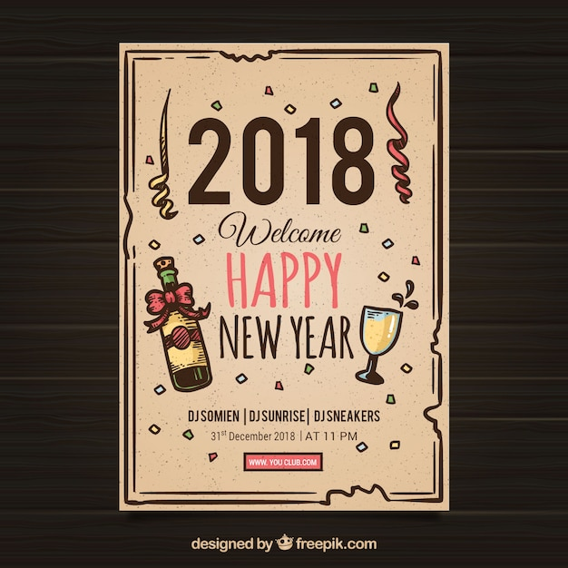 cute new year flyer template free vector