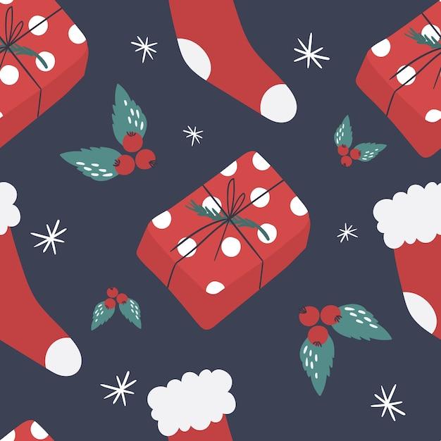 귀여운 새 해 선물 및 양말 완벽 한 패턴입니다. 삽화. 프리미엄 벡터