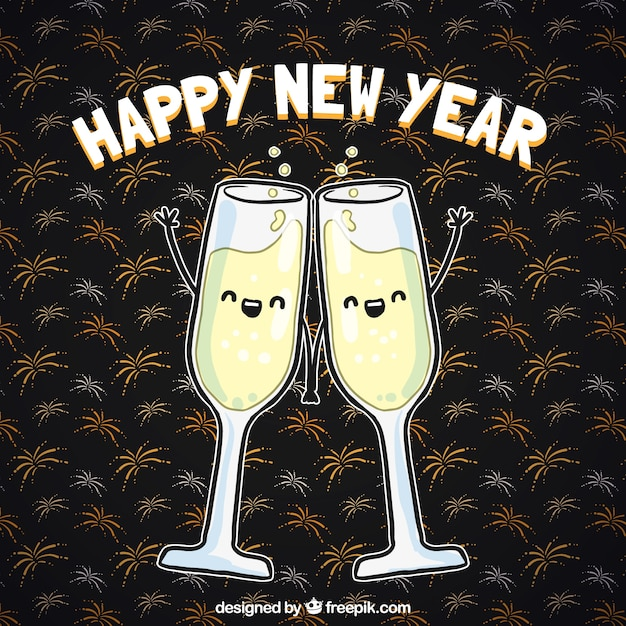 cute new year toast background free vector