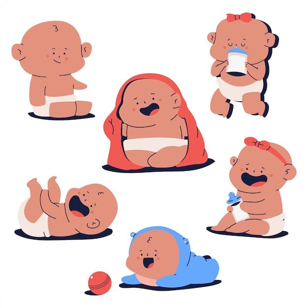 Cute newborn baby characters  cartoon set isolated on white background. Premium Vector