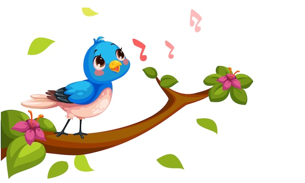 Cute nightingale singing cartoon vector Free Vector
