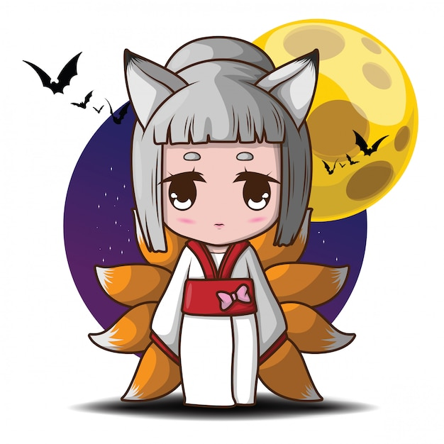 Cute nine tails fox devil in full moon illustration. Premium Vector