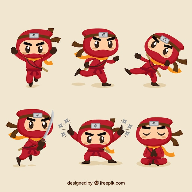 Cute ninja character in different poses with flat design Free Vector