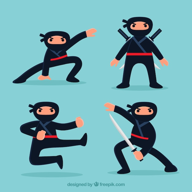 Cute ninja character in different poses with\ flat design