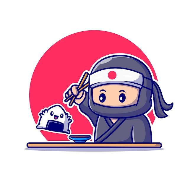 おにぎりを箸漫画で食べるかわいい忍者。分離された人々の食品アイコンの概念。フラット漫画スタイル Premiumベクター