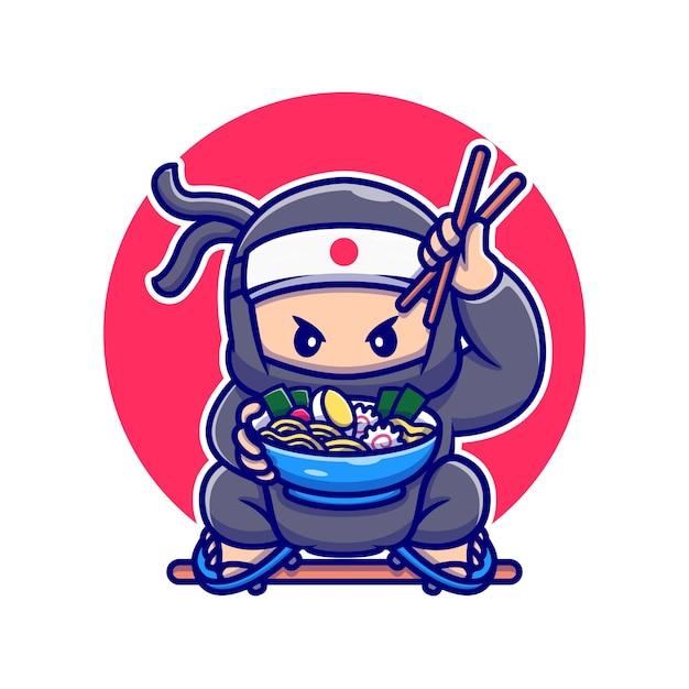かわいい忍者を食べるラーメン漫画ベクトルイラスト。人々の食品の概念分離ベクトル。フラット漫画スタイル Premiumベクター