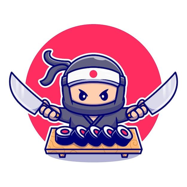 寿司漫画とナイフを保持しているかわいい忍者。分離された人々の食品アイコンの概念。フラット漫画スタイル Premiumベクター