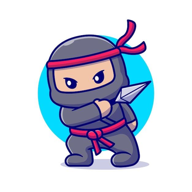 クナイ漫画でかわいい忍者。フラット漫画スタイル 無料ベクター