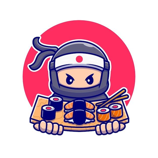 寿司漫画とかわいい忍者。分離された人々の食品アイコンの概念。フラット漫画スタイル Premiumベクター