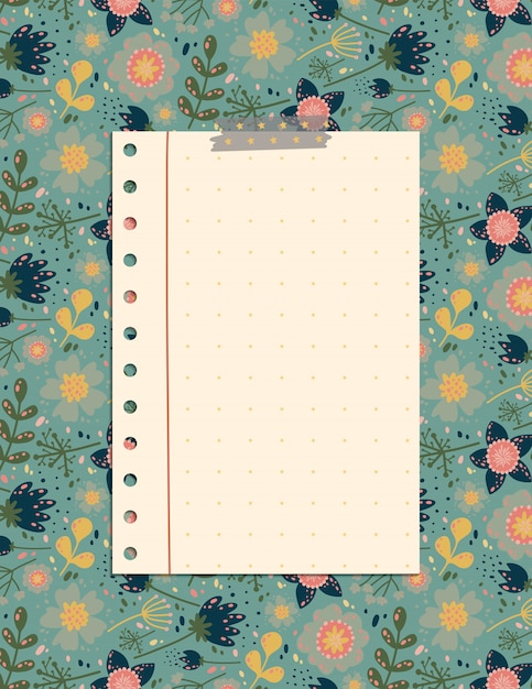 Cute note page with the pattern of flowers and leaves, a stationery organizer for daily plans. Premium Vector