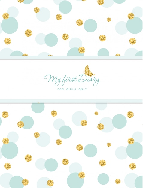 Cute notebook cover for girls with glitter confetti Premium Vector