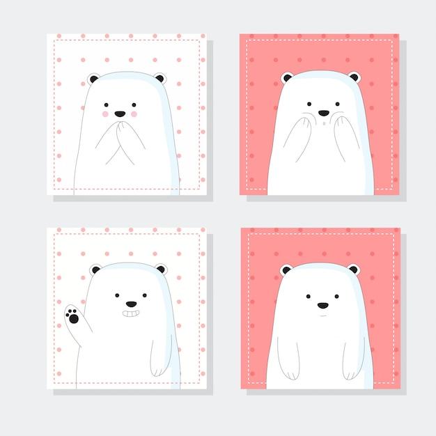 Cute notes with cute bear cartoon hand drawn style Premium Vector