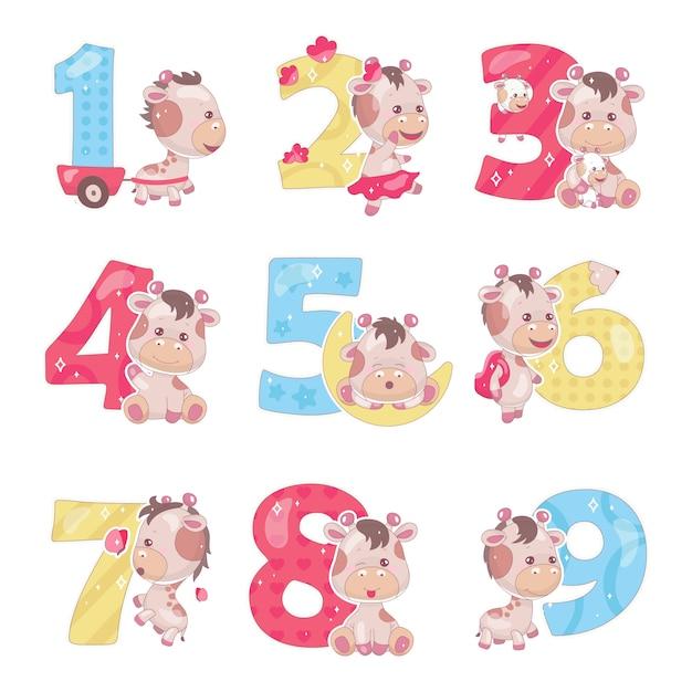 Cute numbers with baby giraffe cartoon illustrations set Premium Vector