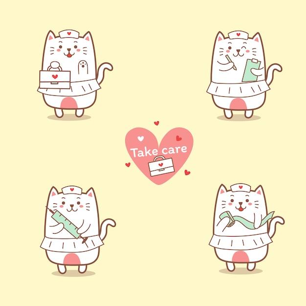Симпатичная медсестра кошка мультфильм рисованной Premium векторы