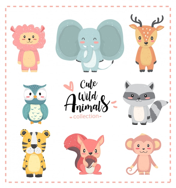 Cute nursery wild animal pastel hand drawn collection, llama, elephant, reindeer, owl, raccon, tiger, squirrel, monkey Premium Vector