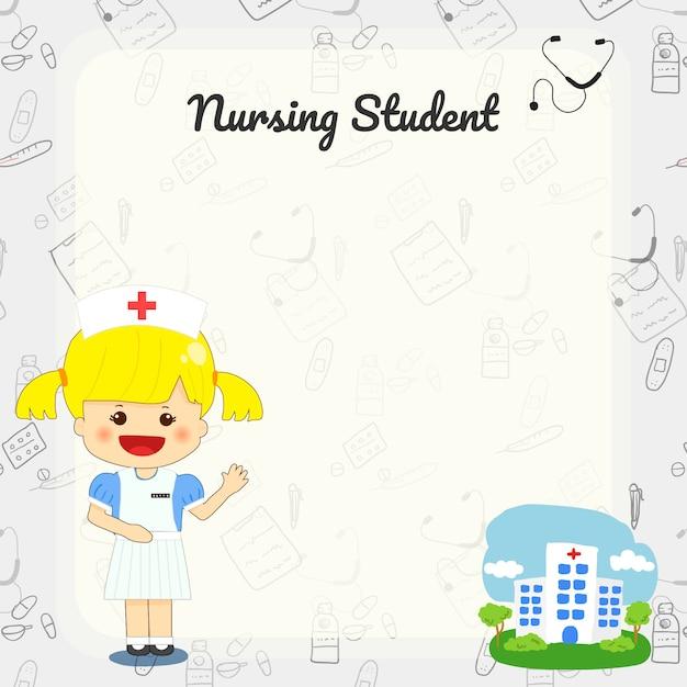 Cute nursing student cartoon hand drawn background Premium Vector