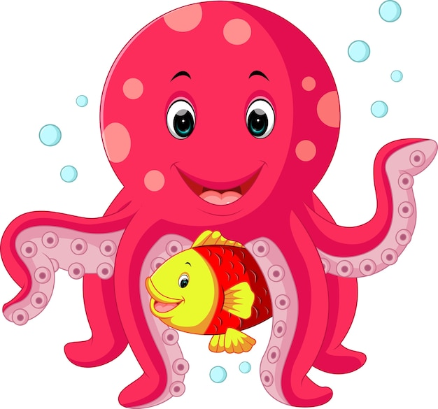 Cute octopus cartoon Vector | Premium Download