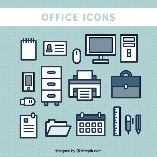 Cute office icons Free Vector