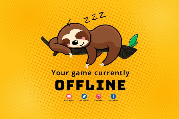 Cute offline twitch banner template Free Vector