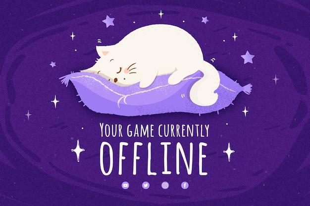 Cute offline twitch banner template Premium Vector