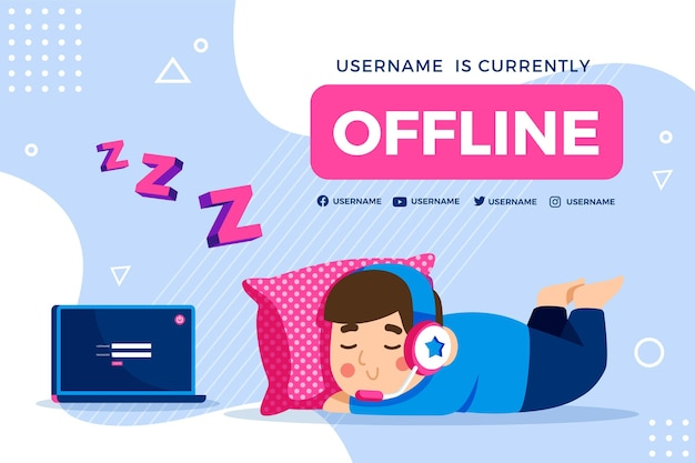 Cute offline twitch banner with boy sleeping Free Vector