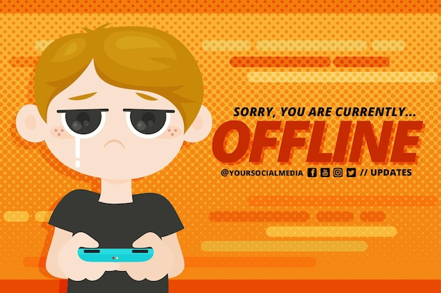 Cute offline twitch banner with boy Free Vector