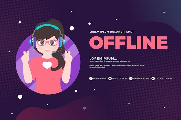 Simpatico banner twitch offline Vettore gratuito