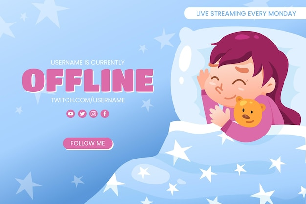 Cute offline twitch banner Free Vector