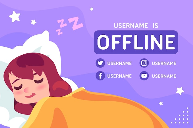 Cute offline twitch banner Free Vector