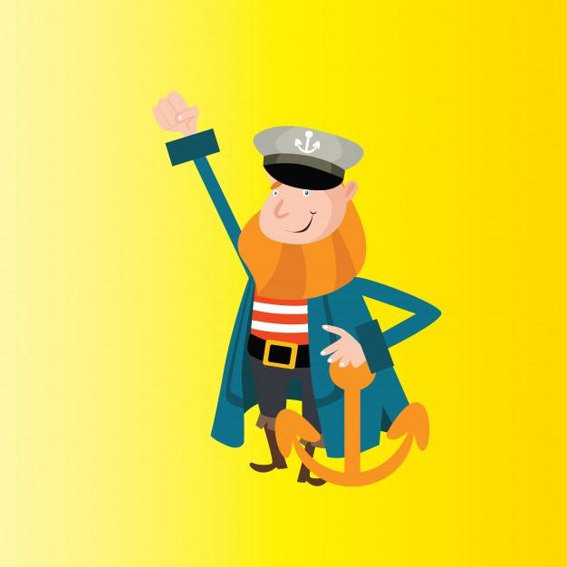 cute old man bearded sailor seaman mariner navy anchor cartoon