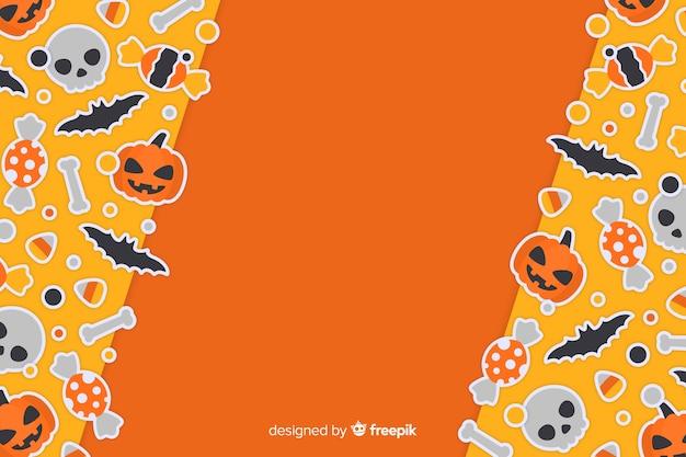 Cute orange halloween background in flat design Free Vector