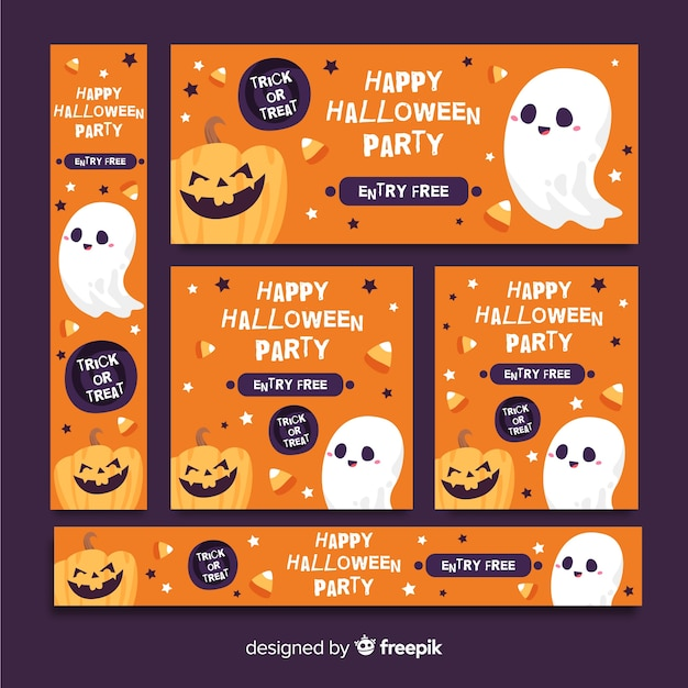 Cute orange halloween banner web Free Vector