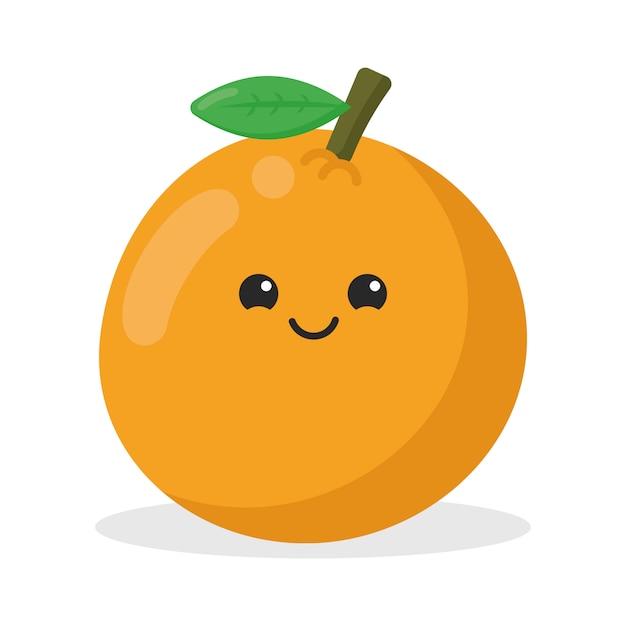 Cute orange kawaii character Premium Vector
