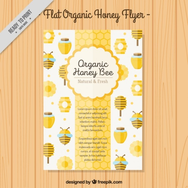 Cute organic honey brochure Premium Vector
