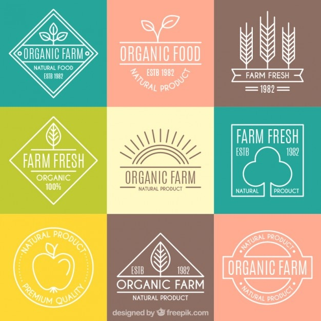 Cute organic logotypes with outline for farm Free Vector