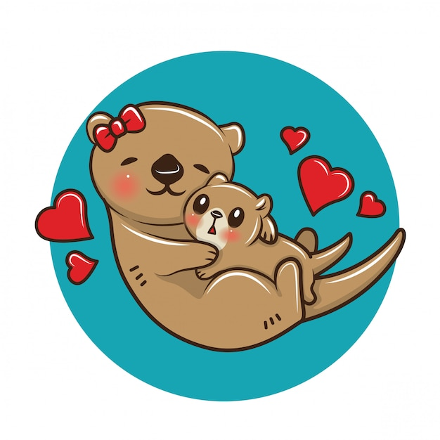 Cute Otter Cartoon Animal Cartoon Concept Vector Premium Download