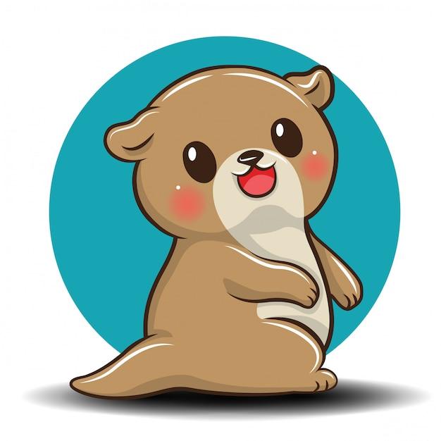 Cute otter cartoon Premium Vector
