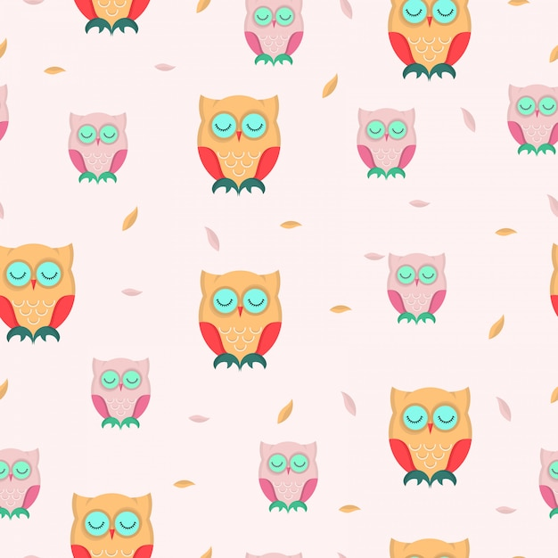 Cute owl autumn seamless pattern. Premium Vector
