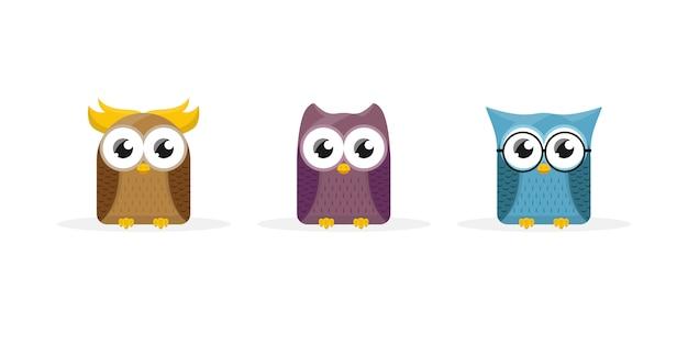 Симпатичная сова мультипликационный персонаж талисман Premium векторы