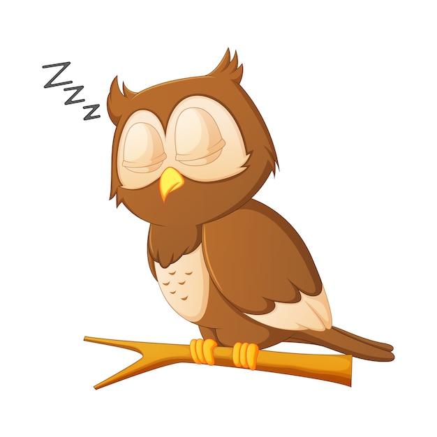 cute owl cartoon sleeping vector premium download