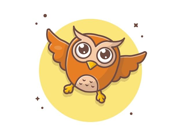プレミアムベクター かわいいフクロウ飛行アイコンイラスト