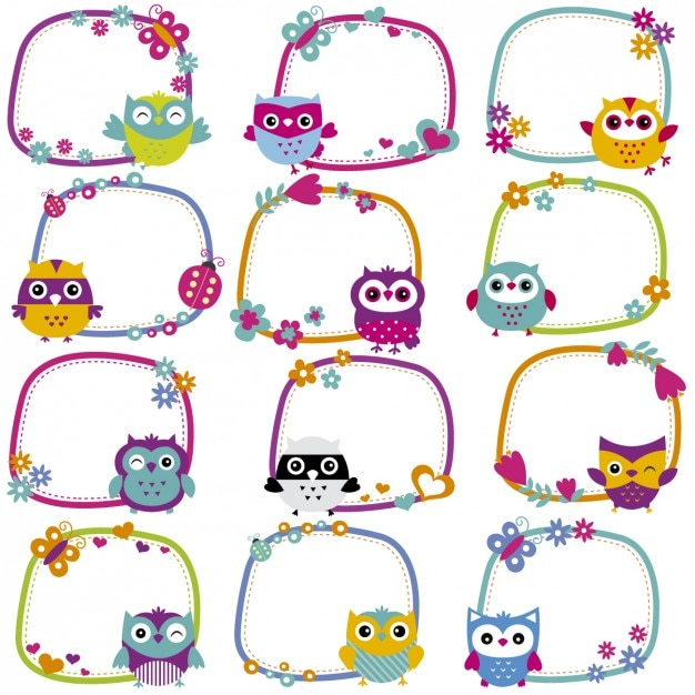 Cute owl frames collection Vector | Free Download