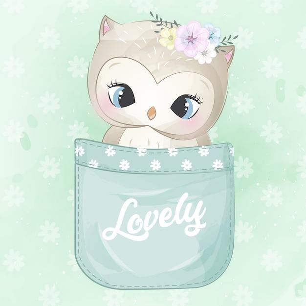 Cute owl inside the pocket Premium Vector