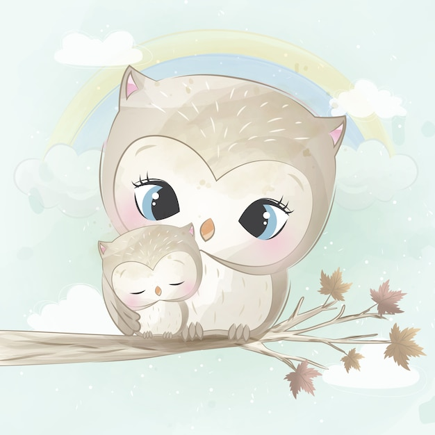 Cute owl mother and baby Premium Vector